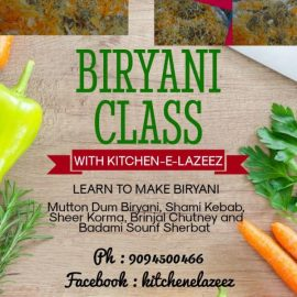 Cooking Class for Ladies on Mutton Dum Biryani on 1st December
