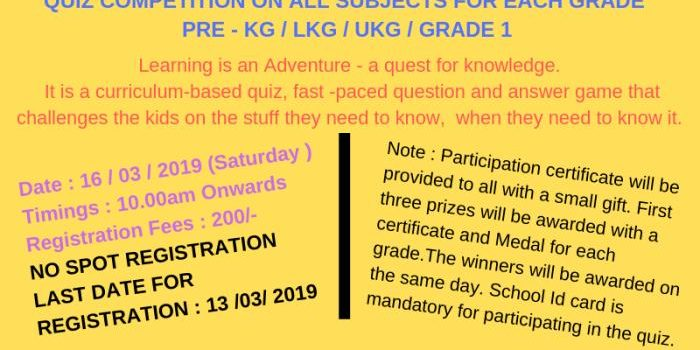 Inter School Quiz Competition on 16.03.2019