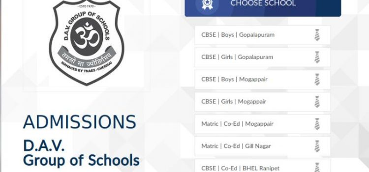 D.A.V Group of Schools, Chennai Admissions 2019-20