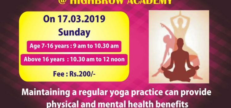 HIGHBROW ACADEMY YOGA WORKSHOP on March 17