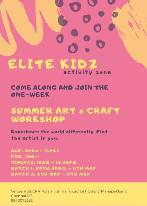 Art Craft Workshop At Elite Kidz Kids Contests