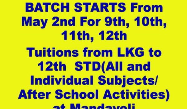 Tuition LKG to 12th STD (All Syllabus )