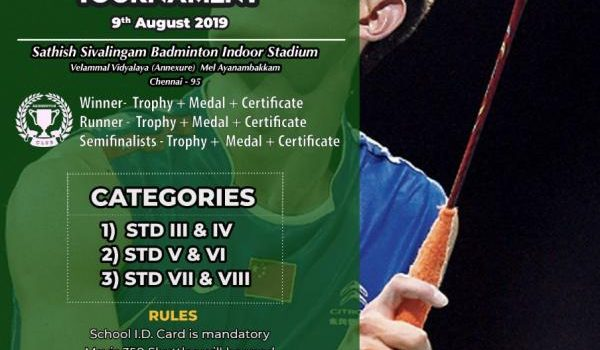 Kids Interschool Badminton Tournament by Velammal on 9th August 2019