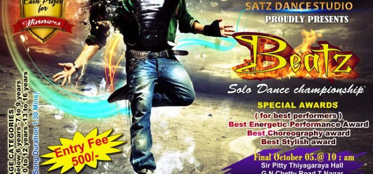 Beatz – Solo Dance Championship @ Satz Dance Studio on Sep 28 & 29, 2019