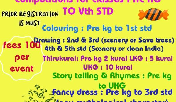 KIDS FEST at New Perungalathur on Nov 3, 2019 for kids from classes PreKG to 5th Std