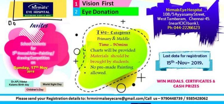 5th Sri TRT Memorial Annual Creative Art Contest conducted by Nirmals Eye Hospital on 17th Nov 2019