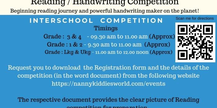 NKW – Reading and Handwriting Competition – 30th November 2019