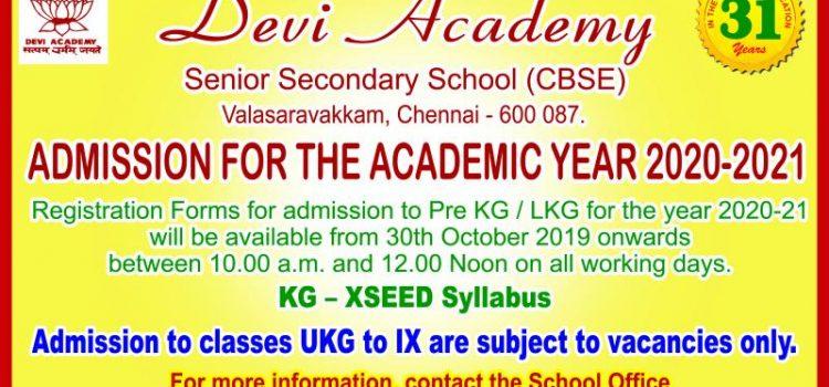 Devi Academy Senior Secondary School, Valsaravakkam Admission 2020-21