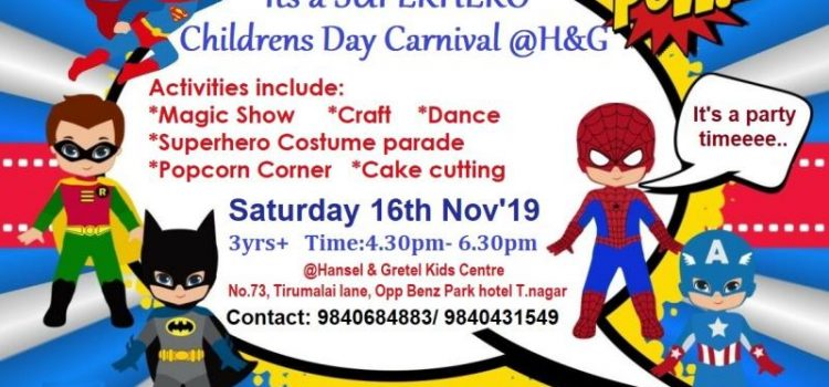 Childrens day Carnival at Hansel and Gretel kids T.nagar on Nov 16, 2019