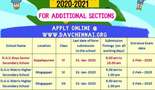 D.A.V Group of Schools, Chennai Class 6 & 7 Admissions 2020 for Additional Sections in some schools
