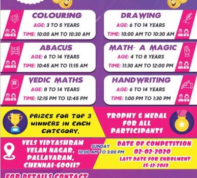 Open State Level Competition 2019 (Abacus / Vedic Maths / Drawing / Colouring / Handwriting / Math-A Magic)
