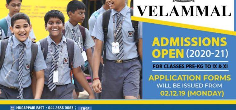 Velammal Group of Schools Admission 2020-21