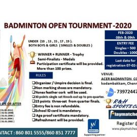 Badminton, Art, Table Tennis Competitions 2020 by R&H Sports Club