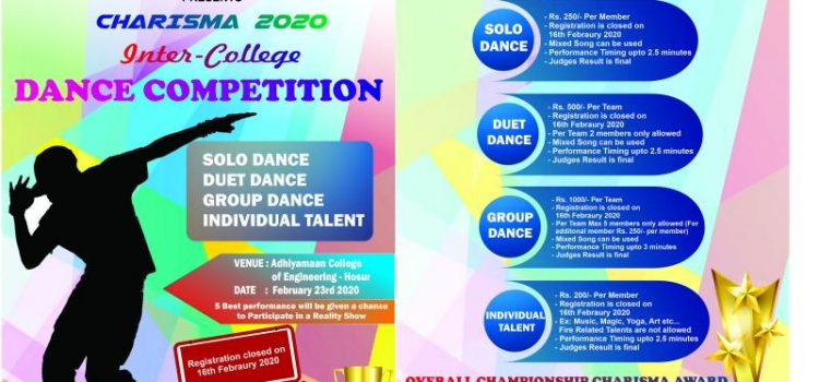 INTER COLLEGE DANCE COMPETITION @CHARISMA 2020