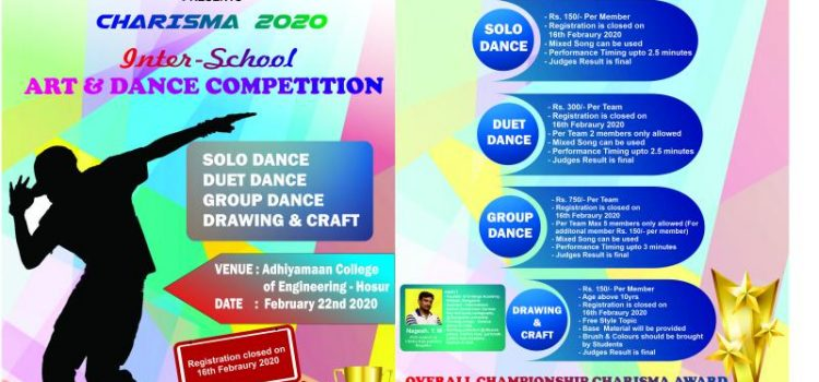 INTER SCHOOL ART & DANCE COMPETITION @CHARISMA 2020