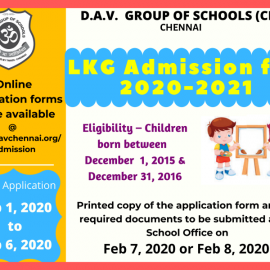 DAV Group of Schools LKG Admissions 2020-21