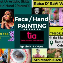 Face / Hand Painting Competition for Kids on 15th March 2020 by tia BRAIN SCULPTORS, Coimbatore