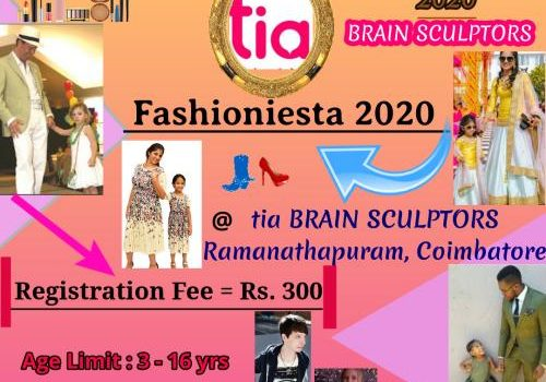 FASHIONIESTA 2020 – Fashion show for Kids & Parents on 15th March 2020 in Coimbatore