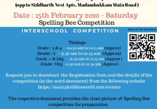 Spelling Bee Competition at NANNYKIDDIESWORLD on 15/02/2020