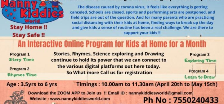 NKW –  AN INTERACTIVE ONLINE PROGRAM FOR KIDS AT HOME FOR A MONTH