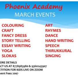 Phoenix Academy March 2021 Events
