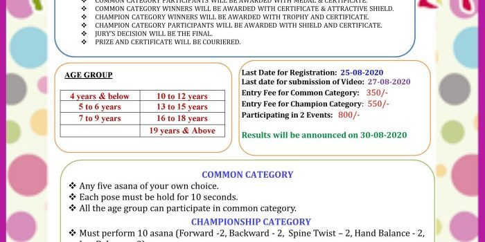 1st National Online Yogasana Championship Competition 2020 by Sishra Yogalaya
