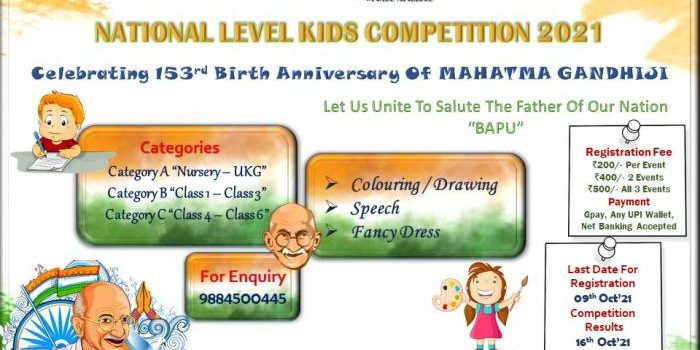 National Level Gandhi Jayanthi Kids Competition 2021 by Unique Events