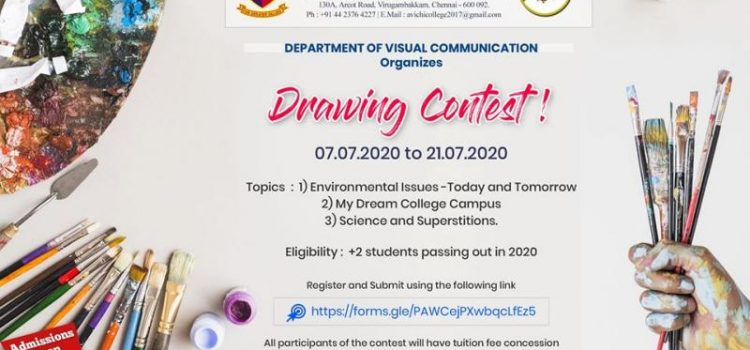Avichi College of Arts and Science, Virugambakkam  Online Drawing Contest for 12th Std passing out in 2020