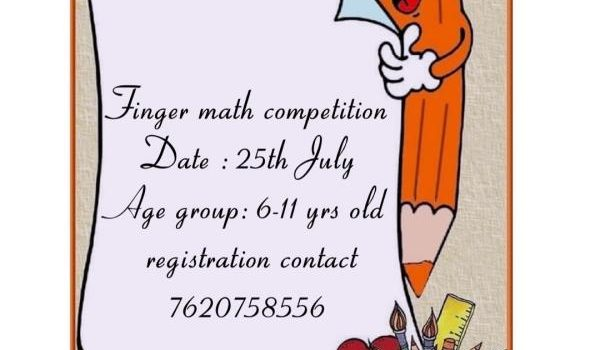 Online Competition for Finger Math on 25th July 2020