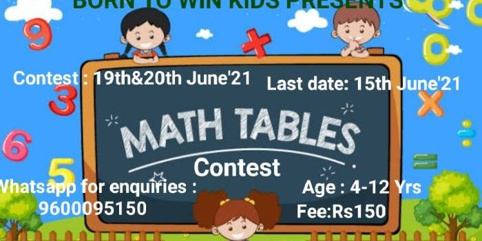 BORN TO WIN KIDS PRESENTS Online Maths Tables Contest