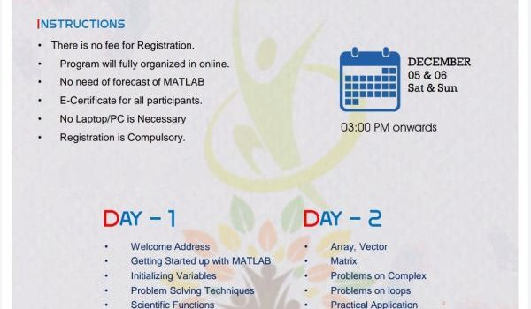 MATLAB FOR ALLA Two Days E-Workshop