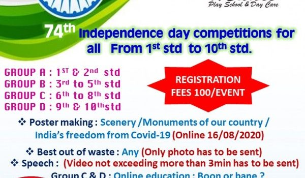 74th Independence Day Competitions for Kids from Std 1 to 10