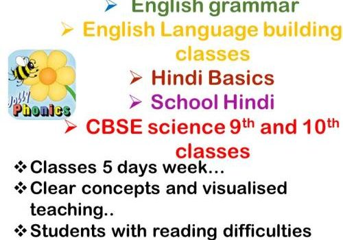 Online Hindi, Jolly phonics and CBSE Science Tuition for 9th & 10th