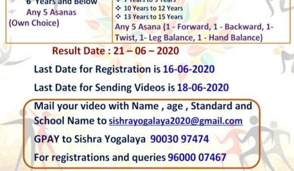 1st Inter School Online Yoga Championship 2020