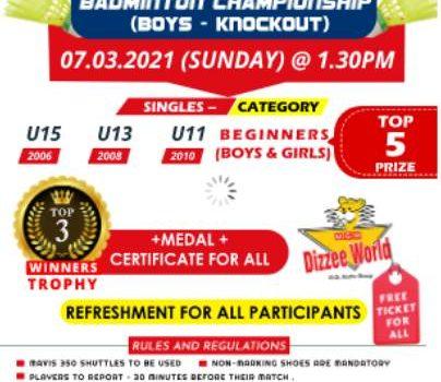 Sportena Academy Mega Inter School Badminton Tournament on March 7, 2021