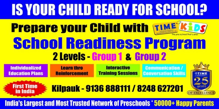Vijayadashami Admissions Open & Online Classes Offer Details @ TIME Kids Preschool, Kilpauk